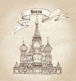 St Basil Cathedral, Red Square, Moscow, Russia. Vector illustration isolated on old-fashioned  background. Stock Image