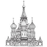 St Basil Cathedral, Red Square, Moscow, Russia. Vector illustration isolated on white background. royalty free illustration