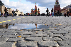 St. Basil Cathedral reflection on red square Royalty Free Stock Photo