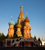 St. Basil Cathedral at sunset. St. Basil Cathedral on the Red Square, Moscow, Russia Stock Image