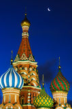 St. Basil Cathedral under the moon Stock Photos