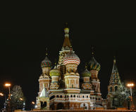 St. Basil church, Moscow, Red Ыquare. Red Square and St. Basil church in central Moscow at night Royalty Free Stock Photography