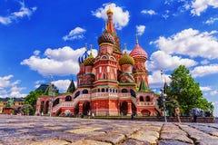 St Basil& x27; s大教堂在莫斯科,俄罗斯 库存图片