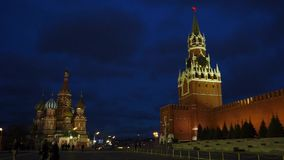 St. Basil`s Cathedra and the Kremlin. St. Basil`s Cathedral on the red square stock video footage