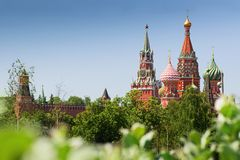 Free St. Basil`s Cathedral  And Spasskaya Tower Moscow Kremlin Summer Day Cityscape Stock Image - 151385231