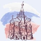 St. Basil`s Cathedral comic style. Comic drawing of famous Russian church St. Basil`s cathedral located on the Red Square in Moscow. EPS8 vector illustration Royalty Free Stock Photos