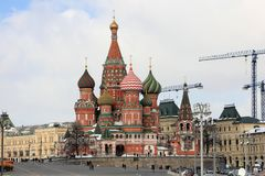 St. Basil`s Cathedral Intercession Cathedral on Red Square stock photo