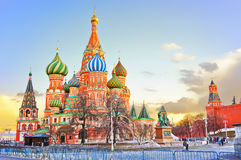 St. Basil's cathedral and the Kremlin at dusk. Royalty Free Stock Images