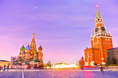 St. Basil's cathedral and the Kremlin at night Royalty Free Stock Photography