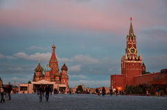St. Basil's Cathedral and the Kremlin. Red Square. Moscow. Russia Stock Photo