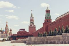 St. Basil's Cathedral, Lenin's Mausoleum, Spasskaya Tower Stock Image