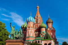 St. Basil's Cathedral, Minin and Pozharksy monument in Moscow. St. Basil's Cathedral on Red square in Moscow. Monument of Minin and Pozharsky in Moscow, Russia Stock Images