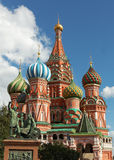 St Basil`s cathedral with monument on Moscow Royalty Free Stock Photos