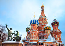St Basil's Cathedral and monument to Minin and Pozharsky Stock Images