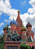 St. Basil's Cathedral and monument to Minin and Pozharsky Stock Image