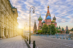 St. Basil`s Cathedral in the morning stock images