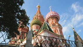 St Basil`s Cathedral in Moscow. Colorful domes and other fragments of St Basil`s Cathedral on Red Square near Kremlin. It`s the major landmark in Moscow, Russia stock video footage