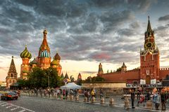 St Basil`s Cathedral and Moscow Kremlin on Red Square at sunset,. Moscow - August 22, 2018: St Basil`s Cathedral and Moscow Kremlin on the Red Square at sunset royalty free stock photography