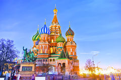 St. Basil's cathedral in Moscow at night Royalty Free Stock Photo