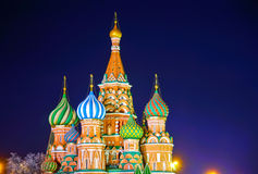 St. Basil's cathedral in Moscow at night Stock Image