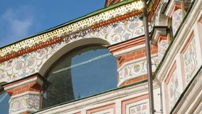 St Basil`s Cathedral in Moscow. Panning shot of colorful fragments and floral wall paintings of St Basil`s Cathedral on Red Square near Kremlin. It is major stock footage