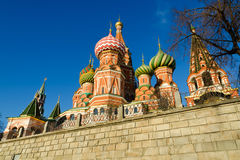 St Basil's Cathedral in Moscow Russia. On a bright winter day Royalty Free Stock Photo