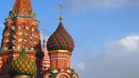 St. Basil`s Cathedral. Moscow. Russia. Domes of St. Basil`s Cathedral against the sky. Architecture of Moscow Royalty Free Stock Images