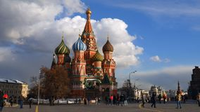 St. Basil`s Cathedral. Moscow. Russia. Domes of St. Basil`s Cathedral against the sky. Architecture of Moscow Stock Image
