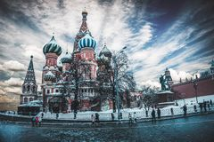 St. Basil`s Cathedral, Moscow, Russia stock images