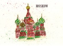 St. Basil`s Cathedral in Moscow. Watercolor painting of St. Basil`s Cathedral in Moscow. Russia. City sketch Stock Image