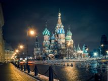 View of St. Basil`s cathedral on the Red Square in Moscow at night royalty free stock photo