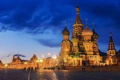 St. Basil's Cathedral night view Stock Photography