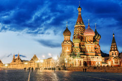 St. Basil`s Cathedral Night View Stock Photo