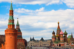St. Basil's cathedral on Red Sq and Kremlin Royalty Free Stock Image