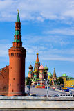 St. Basil's Cathedral on Red square. Domes of the famous Head of St. Basil's Cathedral on Red square close-up, Moscow, Russia Stock Images