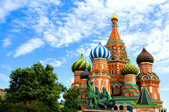St. Basil's Cathedral on Red square. Domes of the famous Head of St. Basil's Cathedral on Red square close-up, Moscow, Russia Royalty Free Stock Photo
