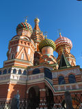 St. Basil`s Cathedral on Red square. Colourful domes on church in Moscow, Russia royalty free stock image