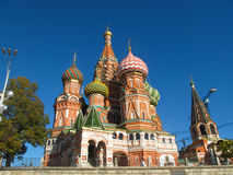 St. Basil`s Cathedral on Red square. Colourful domes on church in Moscow, Russia stock image