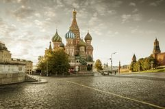 St. Basils Cathedral on Red Square in Moscow in autumn. St. Basil`s Cathedral on Red Square in Moscow in autumn stock image