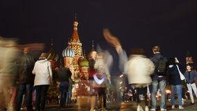 St. Basil`s Cathedral on Red Square in Moscow at night stock video