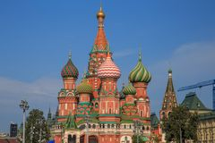 St. Basil`s Cathedral on Red Square in Moscow and nobody around one autumn morning stock photos
