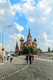 St. Basil's Cathedral on Red Square in Moscow, Russia. MOSCOW, RUSSIA - AUGUST 15, 2012.  St. Basil's Cathedral on Red Square in summer sunny day Stock Photography