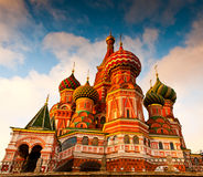 St. Basil's Cathedral on Red square, Moscow, Russia. St. Basil's Cathedral on Red square at sunset Moscow, Russia Royalty Free Stock Photos