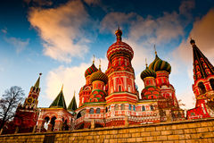 St. Basil's Cathedral on Red square, Moscow, Russia. St. Basil's Cathedral on Red square at sunset Moscow, Russia Stock Photography