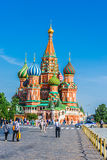 St. Basil's cathedral on Red Square of Moscow Stock Images