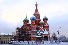 St. Basil`s Cathedral on Red Square in Moscow. Winter stock photos