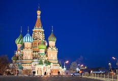 St. Basil's Cathedral at Red Square in night Royalty Free Stock Photos