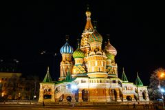 St. Basil`s Cathedral on Red Square, at night stock images