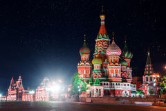 St. Basil's Cathedral, Red square at night. Moscow, Russia Stock Photography