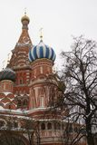 St. Basil`s Cathedral. On red square in winter time, Russia, Moscow, Maslenitsa Royalty Free Stock Photos